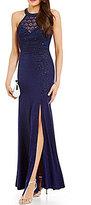Sequin Hearts Sequin Lace Trim High-Neckline Long Dress