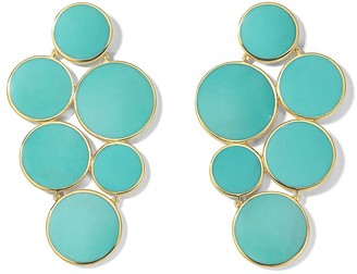 Ippolita 18kt yellow gold Polished Rock Candy 6-stone circle cluster turquoise earrings
