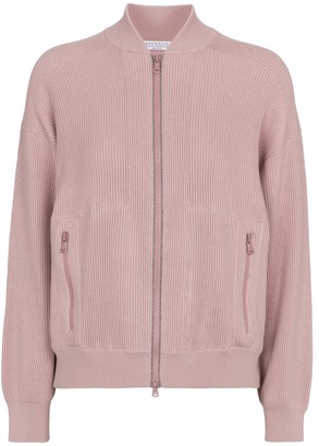 Brunello Cucinelli Embellished cotton bomber jacket