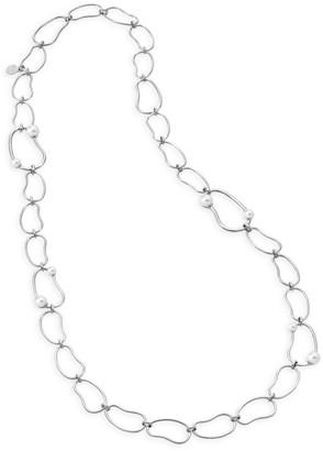 Majorica 5-8MM Organic Man-Made Pearl & Silvertone Link Long Necklace