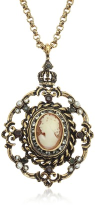 Alcozer & J Gilded Brass Necklace with Cameo Pendant
