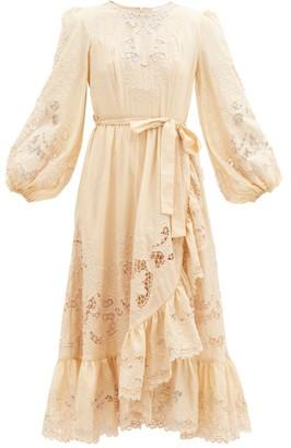 Zimmermann Brighton Tie-waist Broderie-anglaise Cotton Dress - Beige