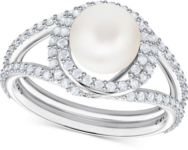 4a2e552f354df Silver-Tone Pave & Imitation Pearl Ring