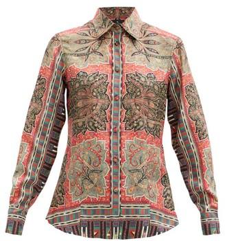 Etro Paisley-print Silk-satin Blouse - Red Multi