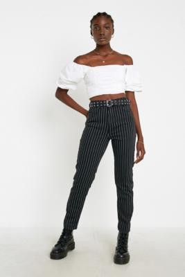 BDG Pinstripe Mom Jeans - black 28W 30L at Urban Outfitters