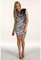 BCBGMAXAZRIA Rubie Printed Matte Jersey Dress (Black Tonal Multi) - Apparel