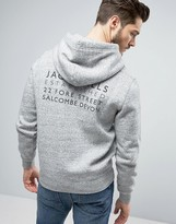 Jack Wills Batsford Graphic Hoodie with Back Print in Gray