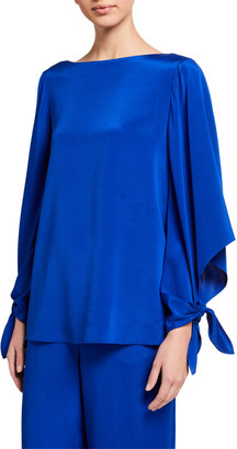 St. John Crepe de Chine Bateau Neck Top
