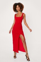 Thumbnail for your product : Nasty Gal Womens Square Neck Split Front Maxi Dress - Red - 12