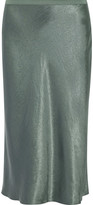 Vince Hammered-satin Midi Skirt - Gray green