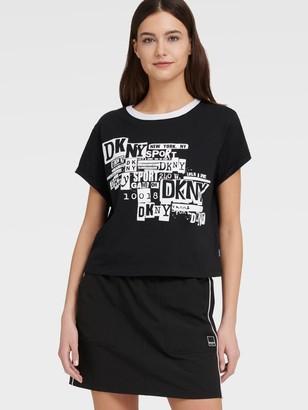 DKNY Women's Newspaper Logo Boxy Tee - Black - Size XS