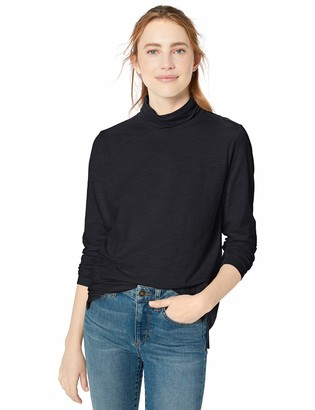 Goodthreads Vintage Cotton Roll-Sleeve V-Neck T-Shirt Black