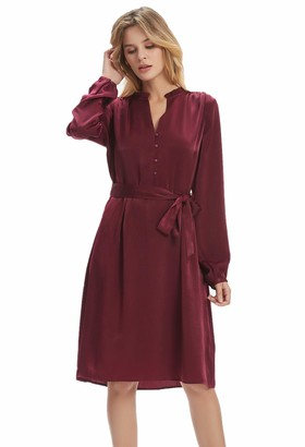 Basic Model Long Sleeve Midi Dresses for Women Casual V Neck Button Up Belted Dress