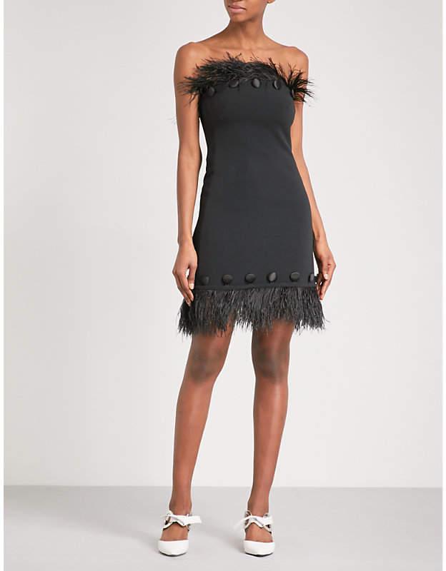 David Koma Ostrich feather-trim crepe dress
