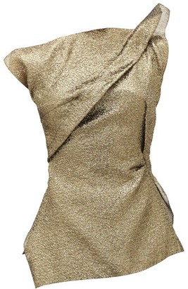 Roland Mouret Braxton Metallic-cloque One-shoulder Top - Womens - Gold