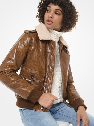 MICHAEL Michael Kors Faux Shearling-Collar Crinkled Leather Moto Jacket