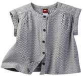 Tea Collection Dobby Button Front Button Top (Baby Girls)