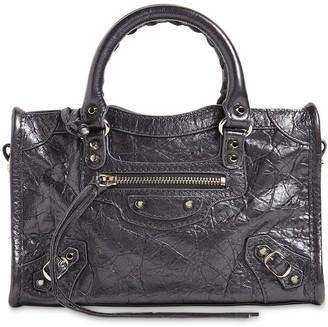 Balenciaga Mini City Metal Leather Top Handle Bag