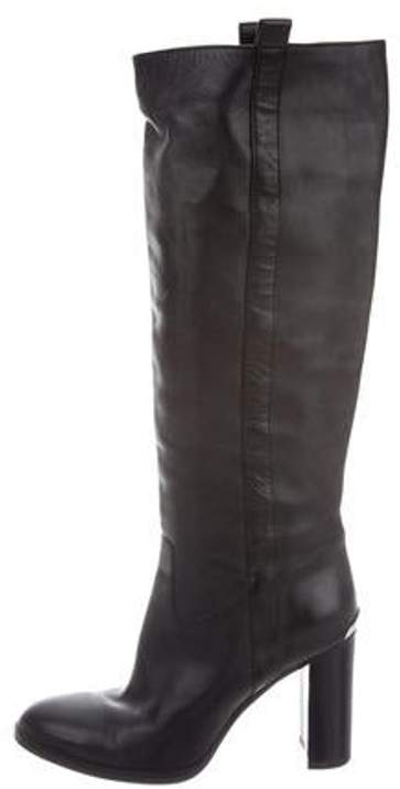 outlet online structural disablities men/man Leather Knee-High Boots Black Leather Knee-High Boots