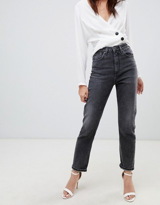 Asos Design DESIGN Farleigh high waisted slim mom jeans in extreme washed black