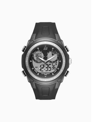 Skechers Mansel 44MM Sport Analog-Digital Chronograph Watch with Plastic Strap and Case, Black and Gray