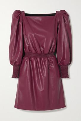 Philosophy di Lorenzo Serafini Shirred Faux Leather Mini Dress - Burgundy