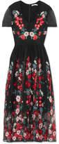 Maje Raphael Embroidered Tulle Midi Dress - Black