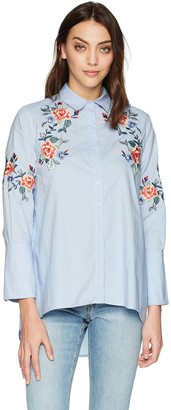 J.o.a. Women's Embroidered Button UP HI-LO Shirt
