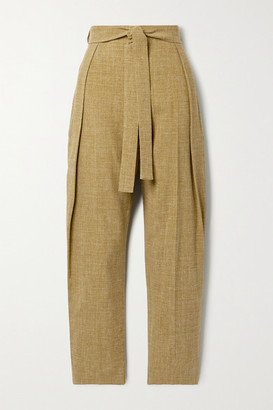 Roksanda Goya Belted Woven Tapered Pants - Army green