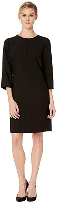 Vince Camuto Elbow Sleeve Bi-Stretch Crepe Belted Dress (Rich Black) Women's Dress