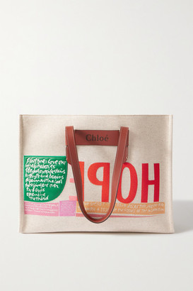 Chloé Corita Kent Large Leather-trimmed Printed Canvas Tote - Brown
