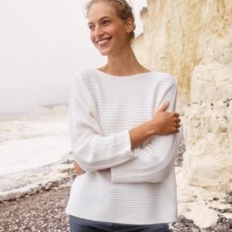 The White Company Wool Cotton Horizontal Rib Jumper, Porcelain, Extra Small