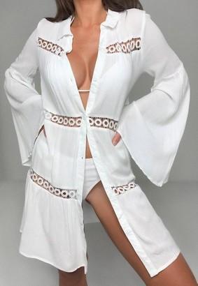 Missguided Cheesecloth Trim Insert Beach Shirt Dress