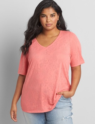 Lane Bryant Perfect Sleeve V-Neck Burnout Tee
