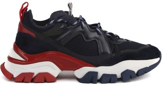 Moncler Blue And Red Leave No Trace Sneakers In Suede Leather And Technical Fabric