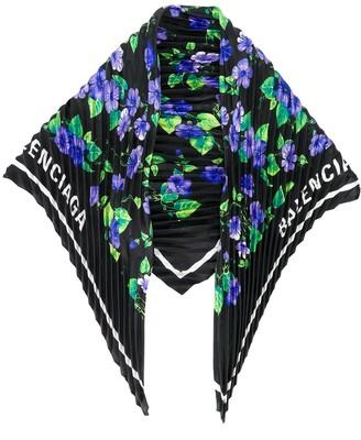 Balenciaga Floral Print Silk Scarf