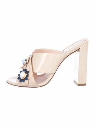Fendi 2017 Flowerland Patent Sandals Nude