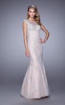 La Femme 21699 Ornate Lace Applique Evening Gown