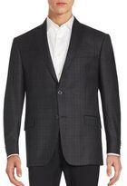 Michael Kors Two-Button Plaid Wool Blazer