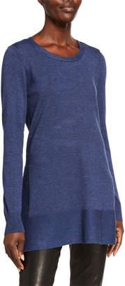Neiman Marcus Side-Slit Long-Sleeve Tunic