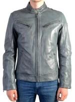 Redskins Leather Jacket Lynch Audition V3 Blue Denim Bleu
