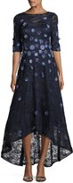 Rickie Freeman For Teri Jon Floral Lace High-Low Cocktail Dress, Navy
