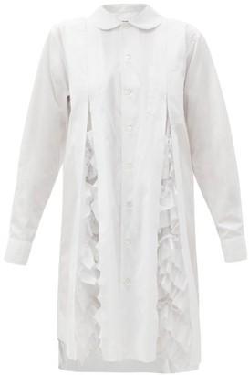 Comme des Garçons Comme des Garçons Ruffled-pleats Cotton-poplin Shirt Dress - White