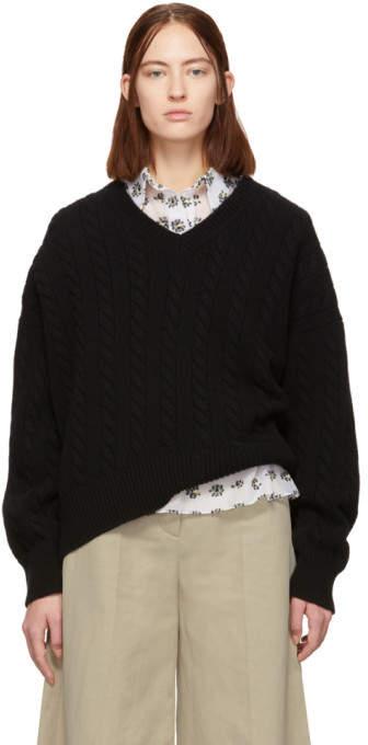 Black Cable Knit V-Neck Sweater