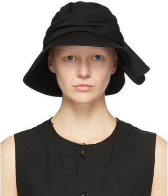 Y's Ys Black Wool Frilled Fedora