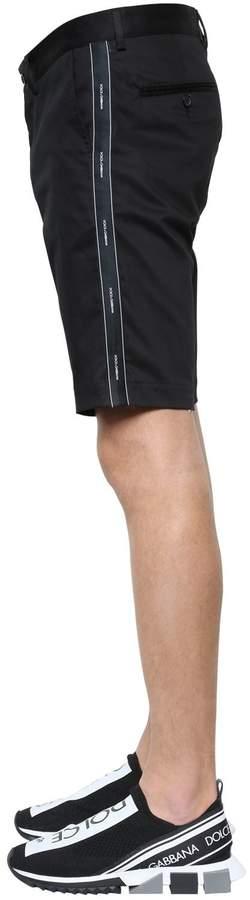 Dolce & Gabbana Logo Ribbon Cotton Gabardine Shorts
