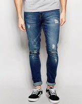 Pull&bear Super Skinny Jeans With Rips In Mid Wash Blue