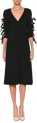 Bottega Veneta V-Neck Bow-Sleeve A-Line Crepe Dress