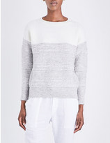 The White Company Contrast-panel knitted jumper