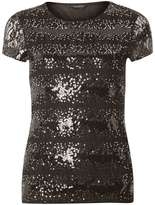 Black Sequin Lace T-Shirt
